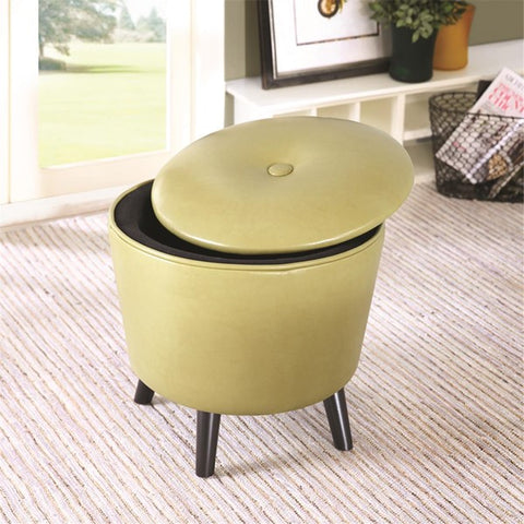 "Fun ""Jetsons"" Kiwi Green Storage Ottoman with botton top lid - Showroom Model"