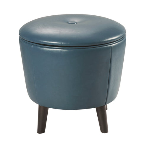 "Fun ""Jetsons"" Slate Blue Storage Ottoman with botton top lid - Showroom Model"