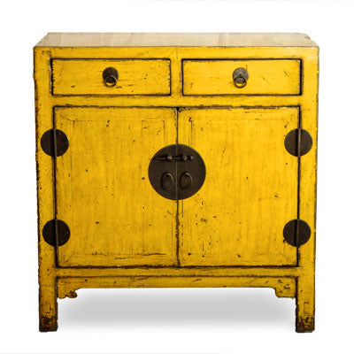 One Of A Kind Bright Yellow Chinese Cabinet   Clearance