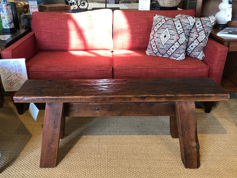 One of a kind reclaimed longer dark cocktail bench/table - Showroom Model