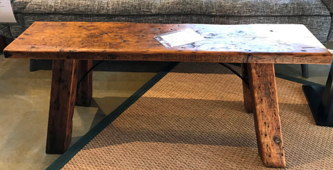 "One of a kind reclaimed ""long blonde"" cocktail bench/table - Showroom Model"