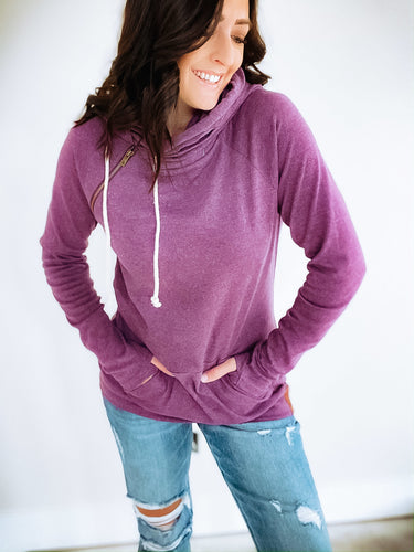 AMPERSAND AVENUE BASIC DOUBLEHOOD SWEATSHIRT - AMETHYST