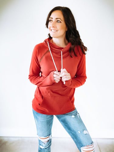 AMPERSAND AVENUE BASIC DOUBLEHOOD SWEATSHIRT - RUBY