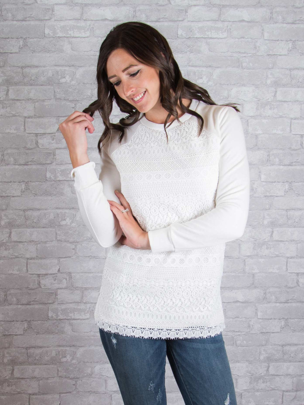 Kiera Lace Front Sweater