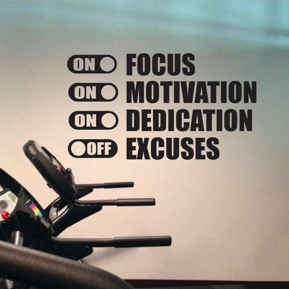 Motivational Quote Wall Sticker - Focus ON, Motivation ON, Dedication ON, Excuses OFF
