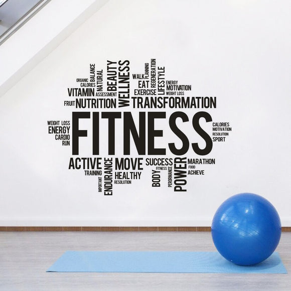 Motivational Wall Sticker - Large Mural 'Fitness, Transformation, Active, Power, Move, etc'