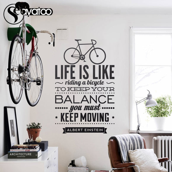 Motivational Quote Wall Sticker - 'Life Is Like Riding A Bicycle' 58x92cm