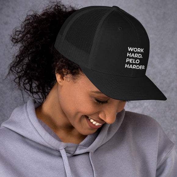 Work Hard. Pelo Harder. - Unisex Trucker Mesh Cap