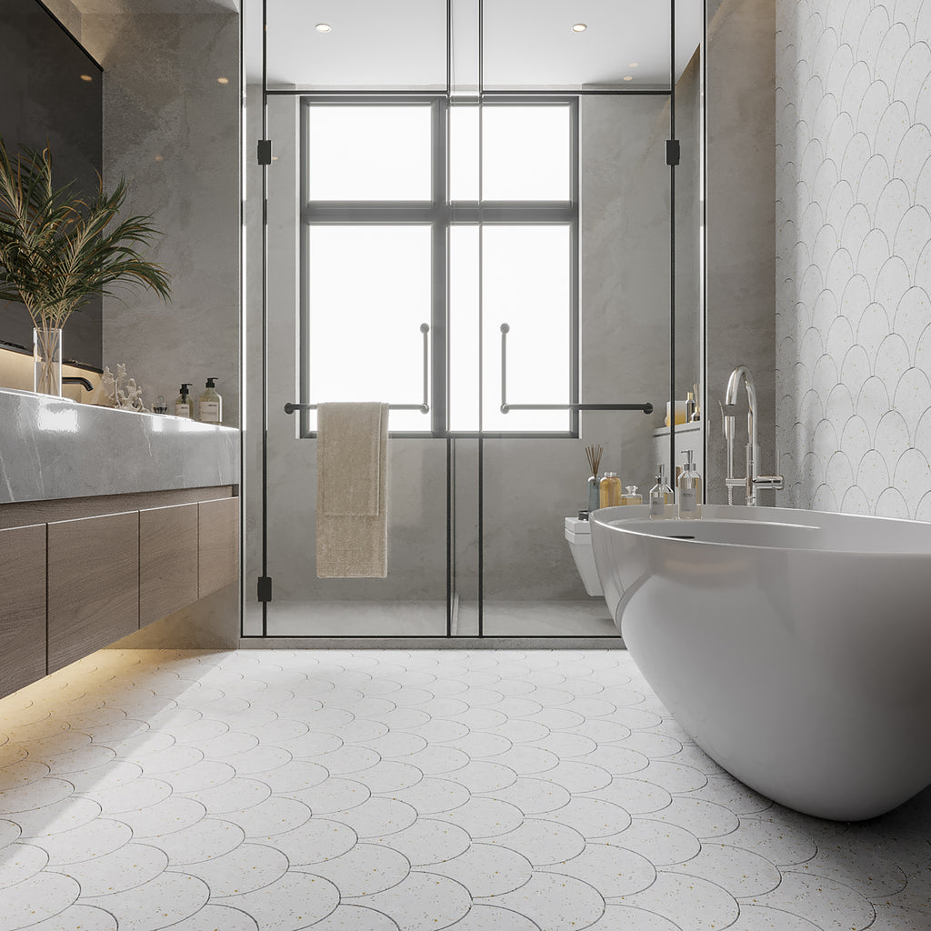 white mother of pearl terrazzo cement tile