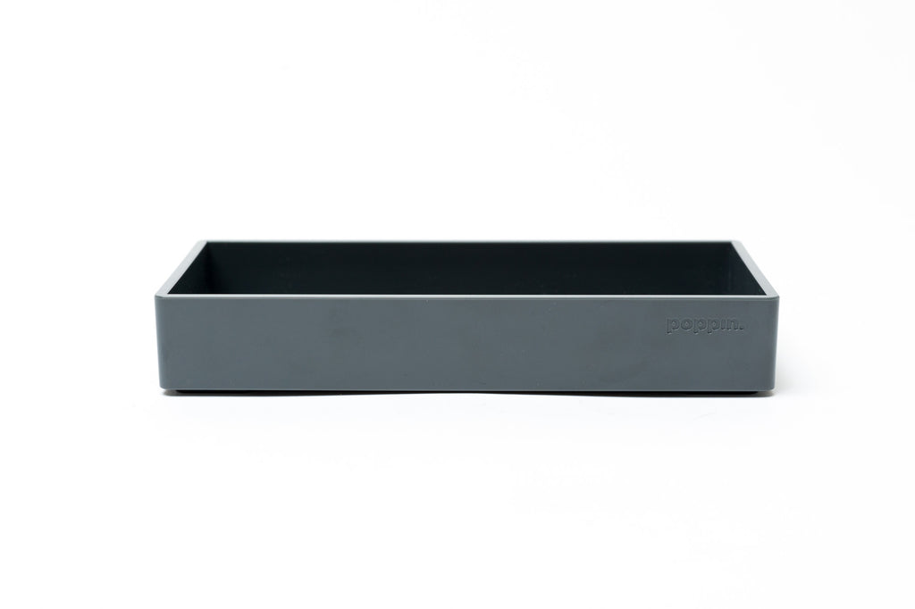 Poppin Small Accessory Tray: Dark Gray