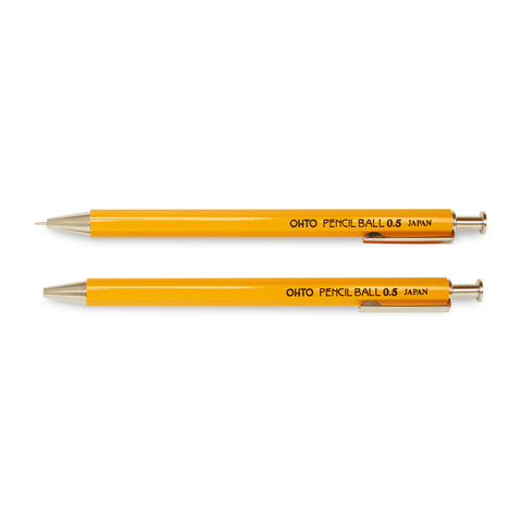 Ohto Pencil Ball Needle Point w/ Clip - Yellow
