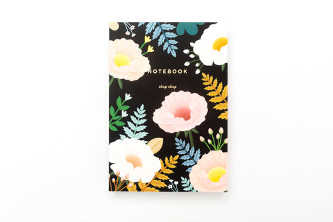 Oriental Poppy Notebook - Black