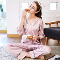 Two-piece summer long-sleeved pajamas