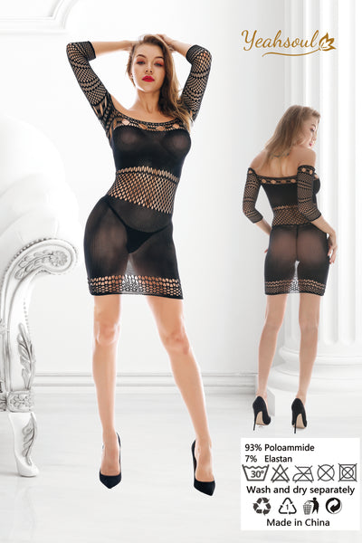 Women Fishnet Bodystockings,Sexy Lingerie Babydoll Bodysuit Nightwear