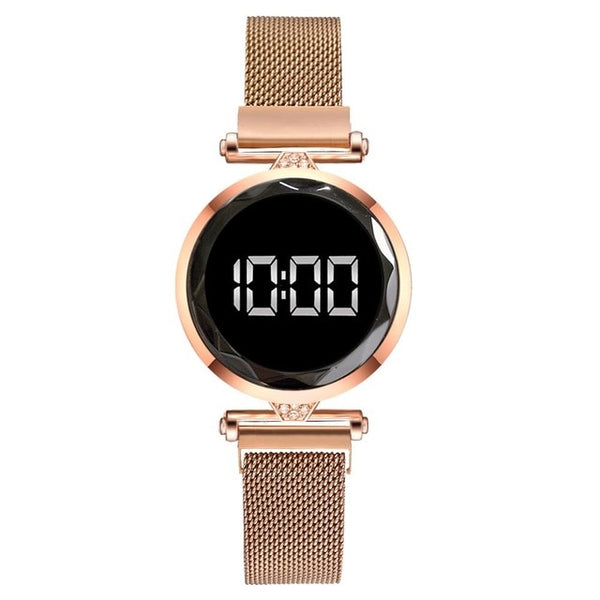 Luxury LED Women Magnetic Bracelet Watches Rose Gold Digital Dress Watch Quartz Wristwatch Ladies Clock relogio feminino
