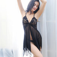 New Lace Nightwear Women Night Dress Sexy Lingerie V-neck Sleeveless Sleepwear Nighties Mini Nightgown Sleeping Dress