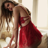 sexy sleepwear women backless wear night gowns with thong sets V-neck lace sexy young girl