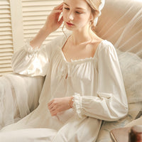 White Nightgown Sleepwear Lady Spring Autumn Long Sleeve Nightdress Loose Women Princess Nightgowns Comfortable