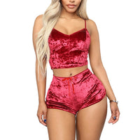Women's pajamas  Party Set  2pcs Velvet Sleepwear Sexy Spaghetti Strap Velvet Shorts Pajama For Women 2020 Plus Size