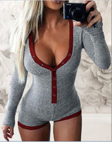 2021 Spring New Women Knitted  Romper Homewear Cute Deep V-Neck Long-Sleeved Pajamas Female Star Pattern Button Jumpsuit