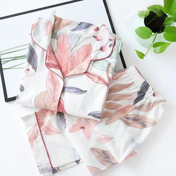 2021 Spring Leaves Printed Women's Pajama Cotton Plus Size Two-piece Set Brief Fashion Long Sleeve Home Clothes Female Sleepwear