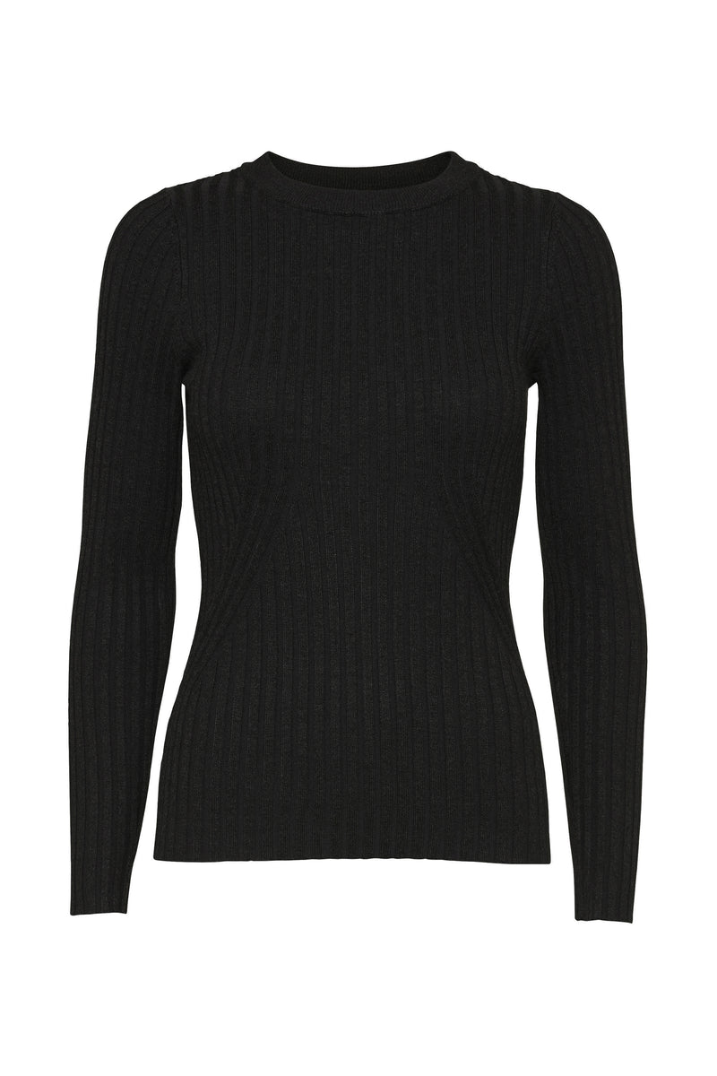 Karlina o-neck LS top - Black