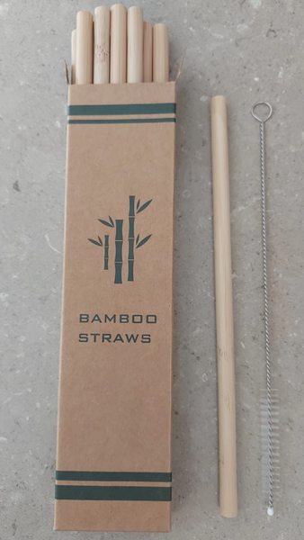 Organic Bamboo Straws 12 Pack with straw cleaner.