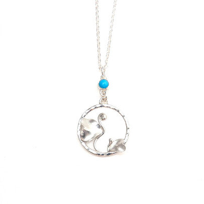Bean Sprouts Mother Child Necklace with a Sleeping Beauty Turquoise Silver Moth Jewelry