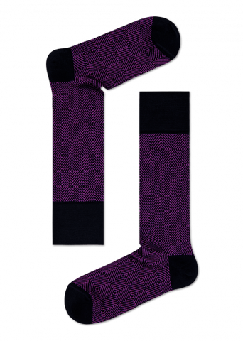 Mens Dress Socks - Purple Squares