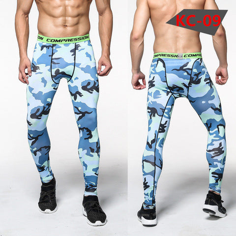 Blue Camo Compression Pants