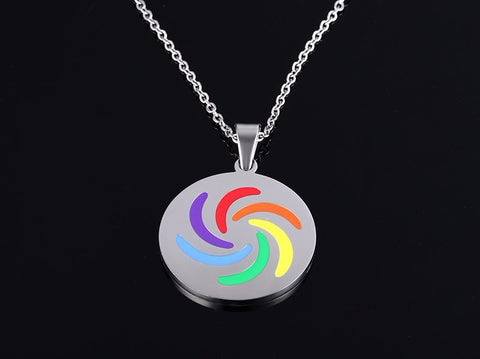 Round Rainbow Stainless Steel Pendant Necklace