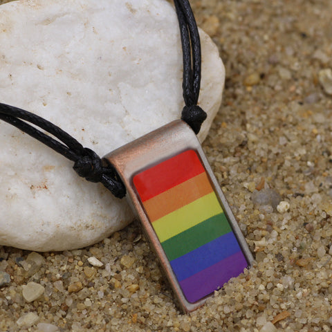 Rainbow Pride Vertical Flag Pendant Pewter Necklace
