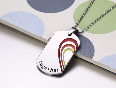 "Rainbow Necklaces ""Together Forever"" Love Heart"