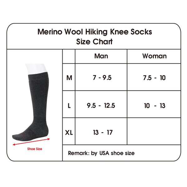 hikeing socks size chart