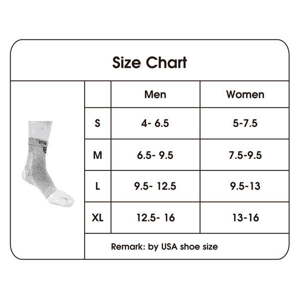 compression ankle sleeve size chart