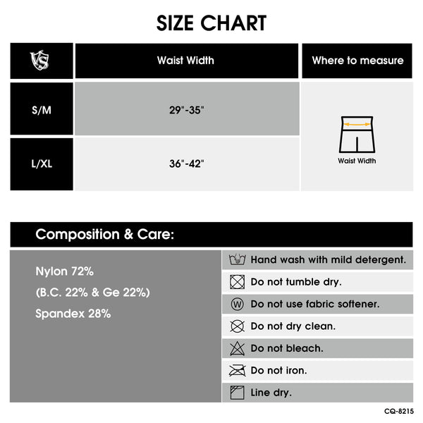 Men Seamless Leggings size chart