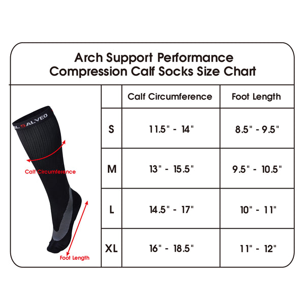 compression sock size chart