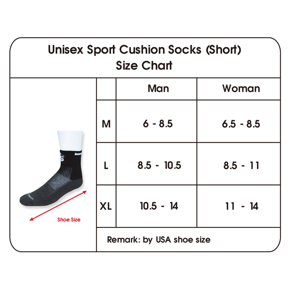 Sport Cushion Socks (Short) size chart