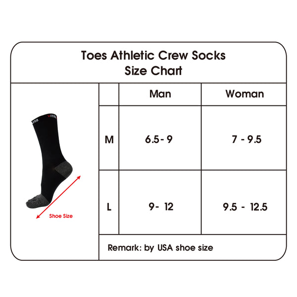 Toes Athletic Crew Socks size chart