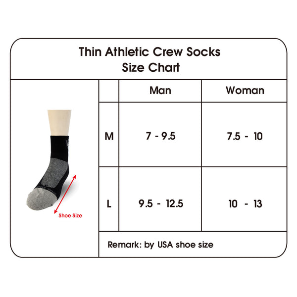 Thin Athletic Ankle Socks long size chart
