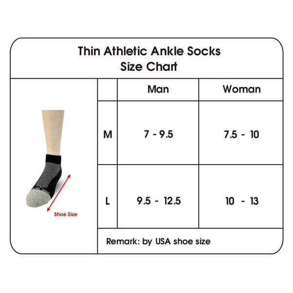 Thin Athletic Ankle Socks size chart