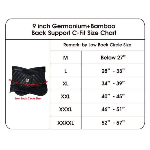 compression back brace support size chart