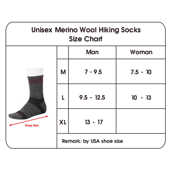 Wool Hiking Socks size chart