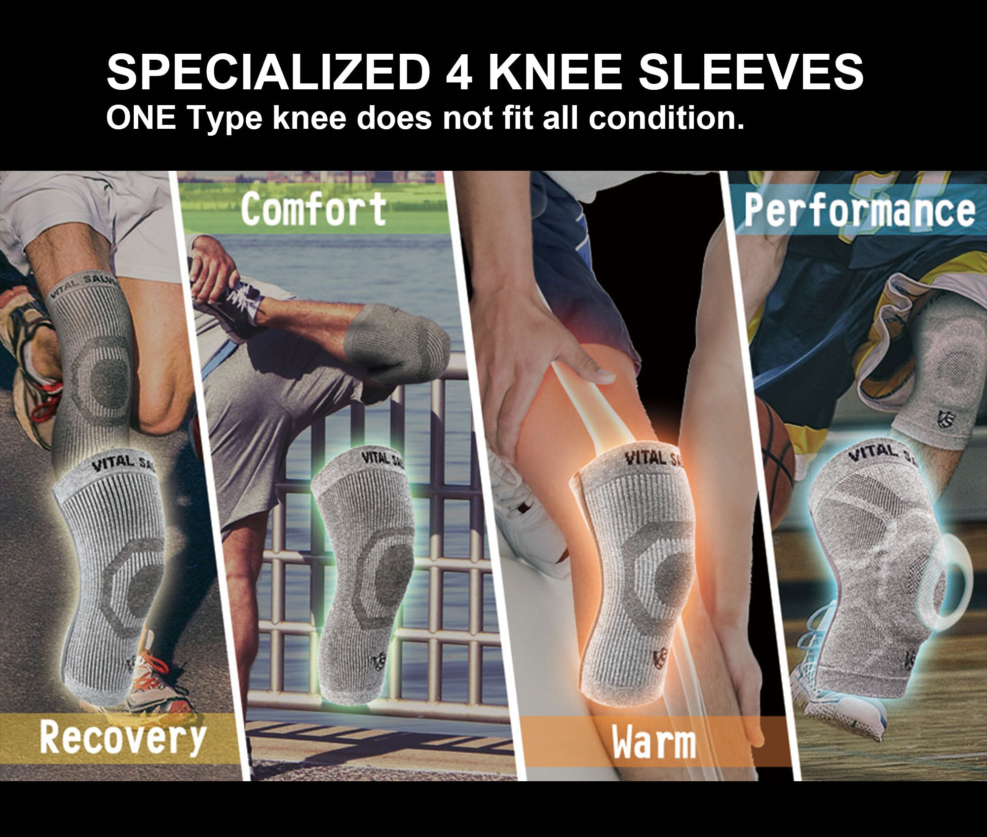 compression knee sleeves with different types