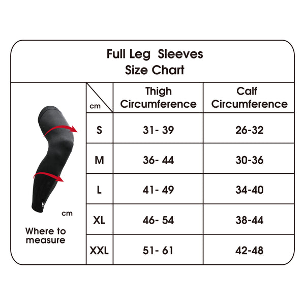 Full Leg Sleeves size chart