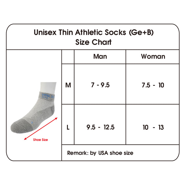 Thin Athletic Socks size chart