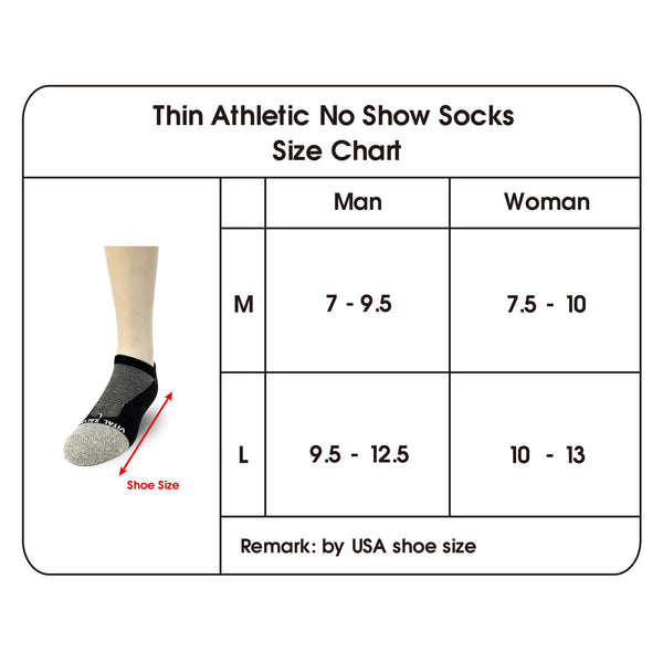 Thin Athletic Ankle Socks short size chart