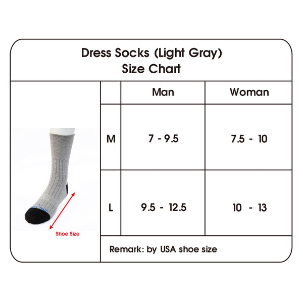 dress socks size chart