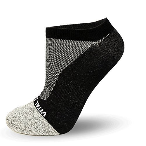 Socks-Thin Athletic No Show Socks (Black) - Vital Salveo