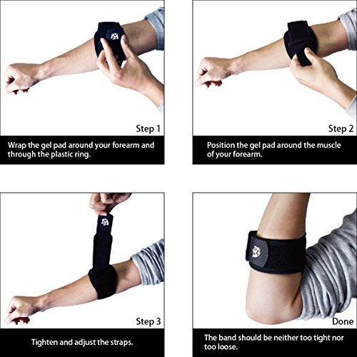 Brace-Compression Pad Elbow Brace with Adjustable Strap-One Size - Vital Salveo